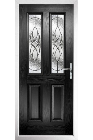 The Cheshire Black Composite Door with Zinc Art Elegance