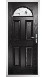 The Durham Black Composite Door with Black Murano