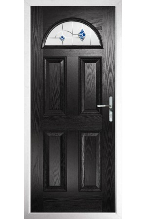 The Durham Black Composite Door with Blue Murano