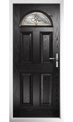 The Durham Black Composite Door with Brass Art Clarity