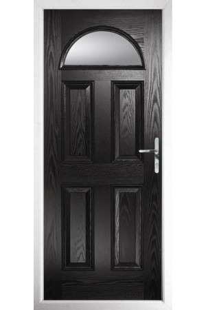 The Durham Black Composite Door with Clear Glazing