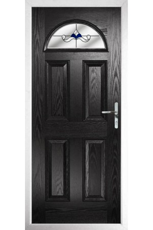 The Durham Black Composite Door with Blue Crystal Bohemia