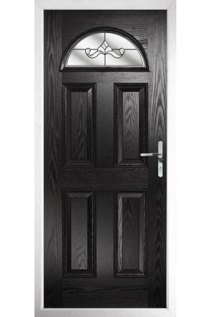 The Durham Black Composite Door with Clear Crystal Bohemia