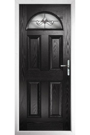 The Durham Black Composite Door with Crystal Bohemia Frost