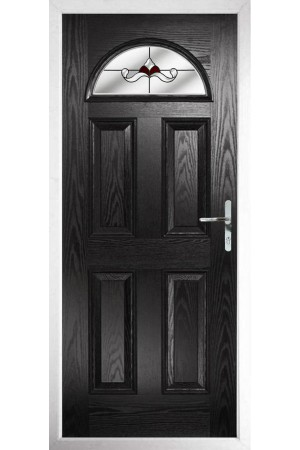 The Durham Black Composite Door with Red Crystal Bohemia