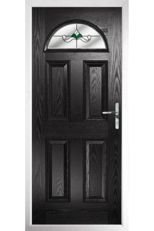 The Durham Black Composite Door with Green Crystal Bohemia