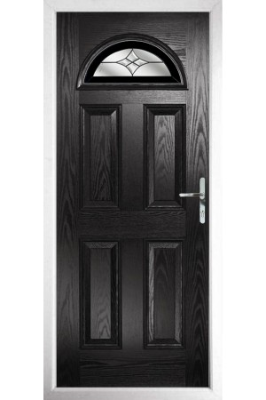 The Durham Black Composite Door with Black Crystal Harmony