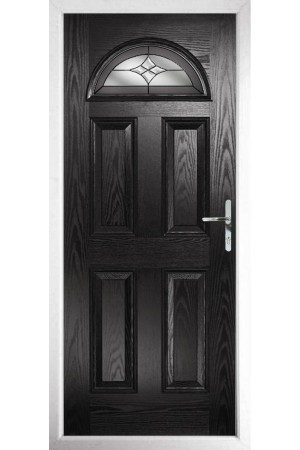 The Durham Black Composite Door with Crystal Harmony Frost