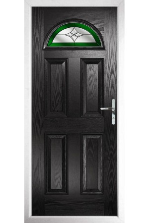 The Durham Black Composite Door with Green Crystal Harmony