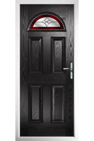 The Durham Black Composite Door with Red Crystal Harmony