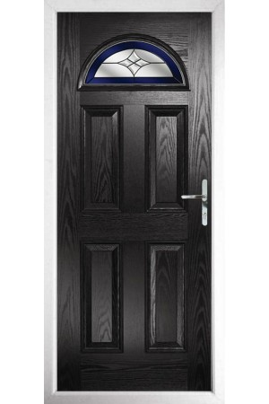 The Durham Black Composite Door with Blue Crystal Harmony