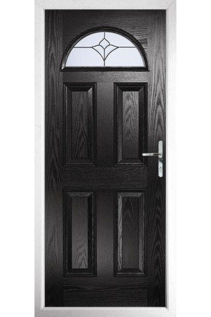 The Durham Black Composite Door with Crystal Tulip Arch