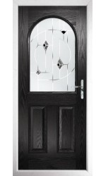 The Essex Black Composite Door with Black Murano