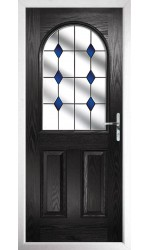 The Essex Black Composite Door with Blue Diamonds