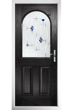 The Essex Black Composite Door with Blue Murano