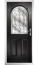 The Essex Black Composite Door with Brass Art Clarity