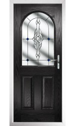 The Essex Black Composite Door with Blue Crystal Bohemia
