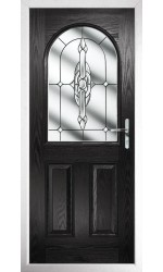The Essex Black Composite Door with Clear Crystal Bohemia
