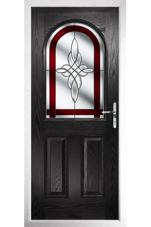 The Essex Black Composite Door with Red Crystal Harmony