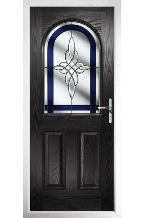 The Essex Black Composite Door with Blue Crystal Harmony