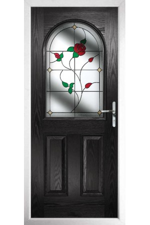The Essex Black Composite Door with English Rose