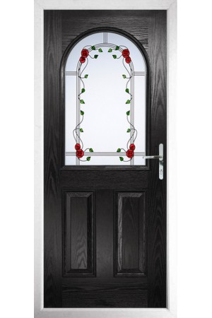 The Essex Black Composite Door with Mackintosh Rose