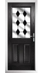 The Fort William Black Composite Door with Black Diamonds