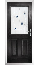 The Fort William Black Composite Door with Blue Murano