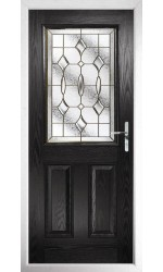 The Fort William Black Composite Door with Brass Art Clarity