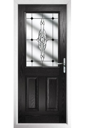 The Fort William Black Composite Door with Black Crystal Bohemia