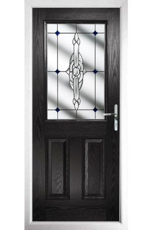 The Fort William Black Composite Door with Blue Crystal Bohemia