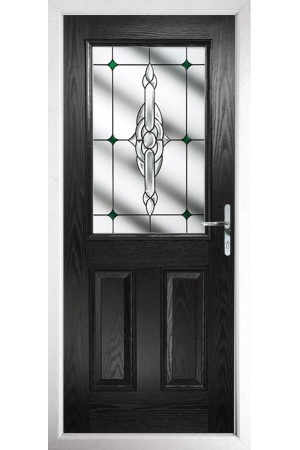 The Fort William Black Composite Door with Green Crystal Bohemia