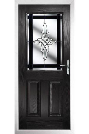 The Fort William Black Composite Door with Black Crystal Harmony