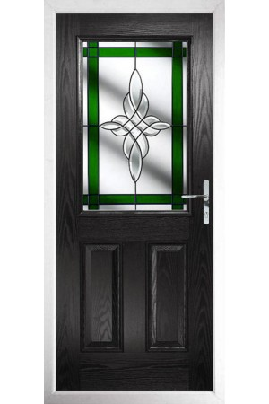 The Fort William Black Composite Door with Green Crystal Harmony