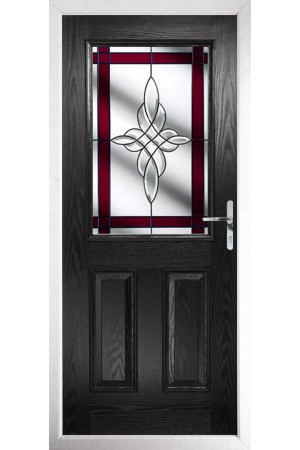 The Fort William Black Composite Door with Red Crystal Harmony