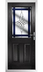 The Fort William Black Composite Door with Blue Crystal Harmony