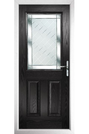 The Fort William Black Composite Door with Diamond Cut
