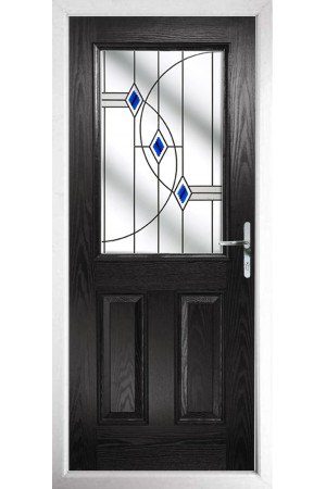The Fort William Black Composite Door with Blue Fusion Ellipse