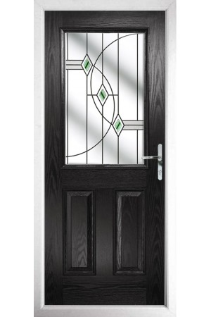 The Fort William Black Composite Door with Green Fusion Ellipse