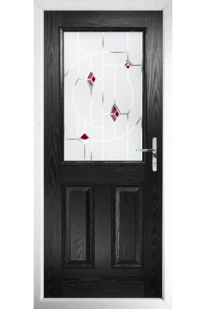 The Fort William Black Composite Door with Red Murano