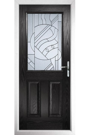 The Fort William Black Composite Door with Zinc Art Abstract