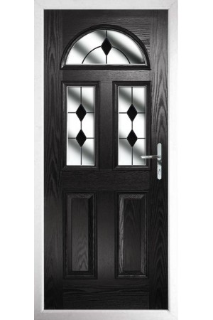 The Greater London Black Composite Door with Black Diamonds