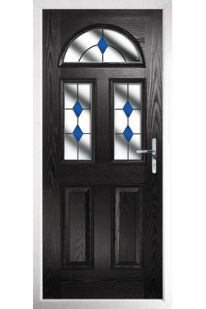 The Greater London Black Composite Door with Blue Diamonds