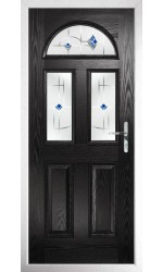 The Greater London Black Composite Door with Blue Murano