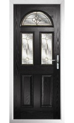 The Greater London Black Composite Door with Brass Art Clarity
