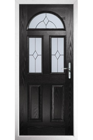 The Greater London Black Composite Door with Classic Glazing