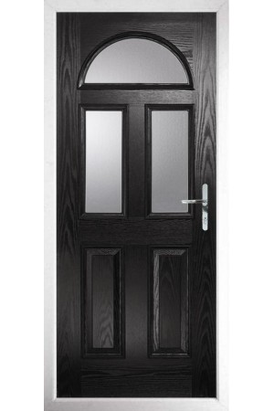 The Greater London Black Composite Door with Clear Glazing