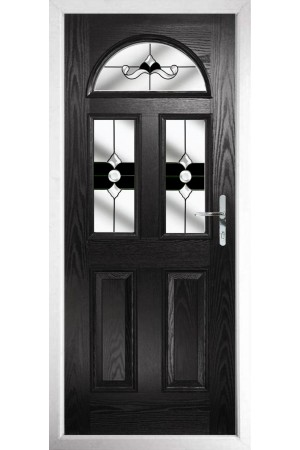 The Greater London Black Composite Door with Black Crystal Bohemia
