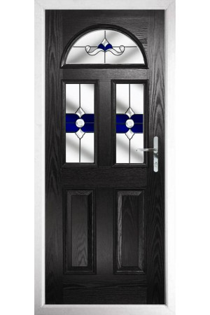 The Greater London Black Composite Door with Blue Crystal Bohemia