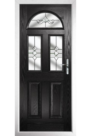The Greater London Black Composite Door with Clear Crystal Bohemia